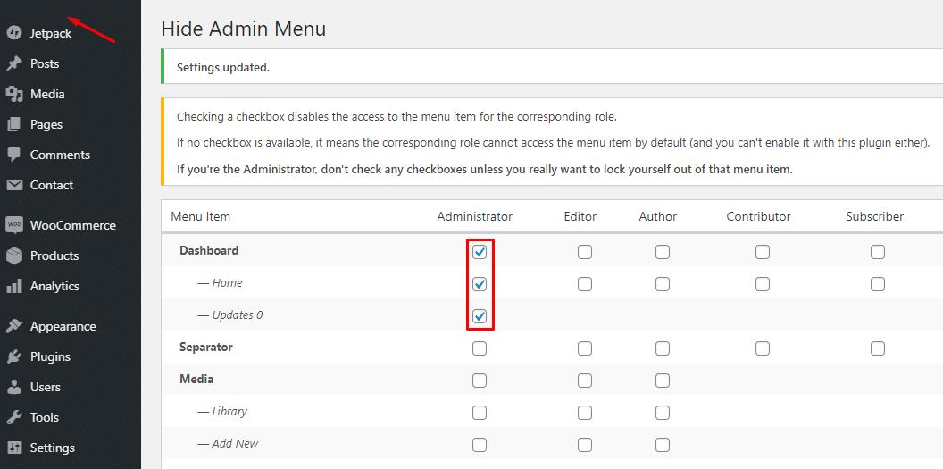 Hide Admin Menu Admin Screenshot