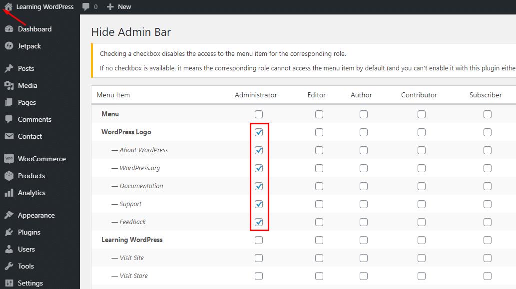 Admin Bar - Admin Screenshot