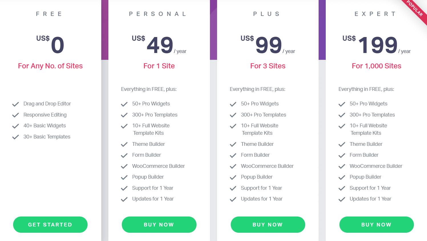 elementor pricing plans